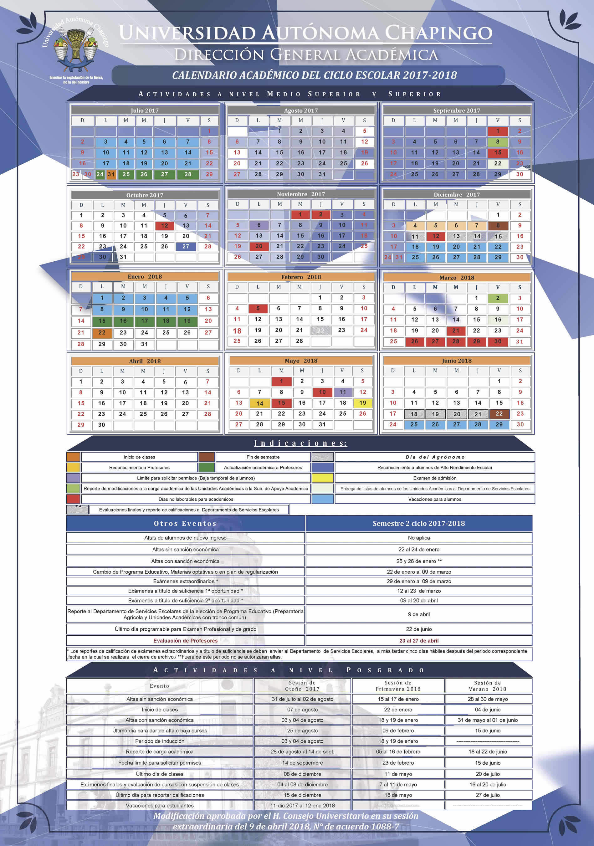 Calendario Escolar Modificado 2017-2018
