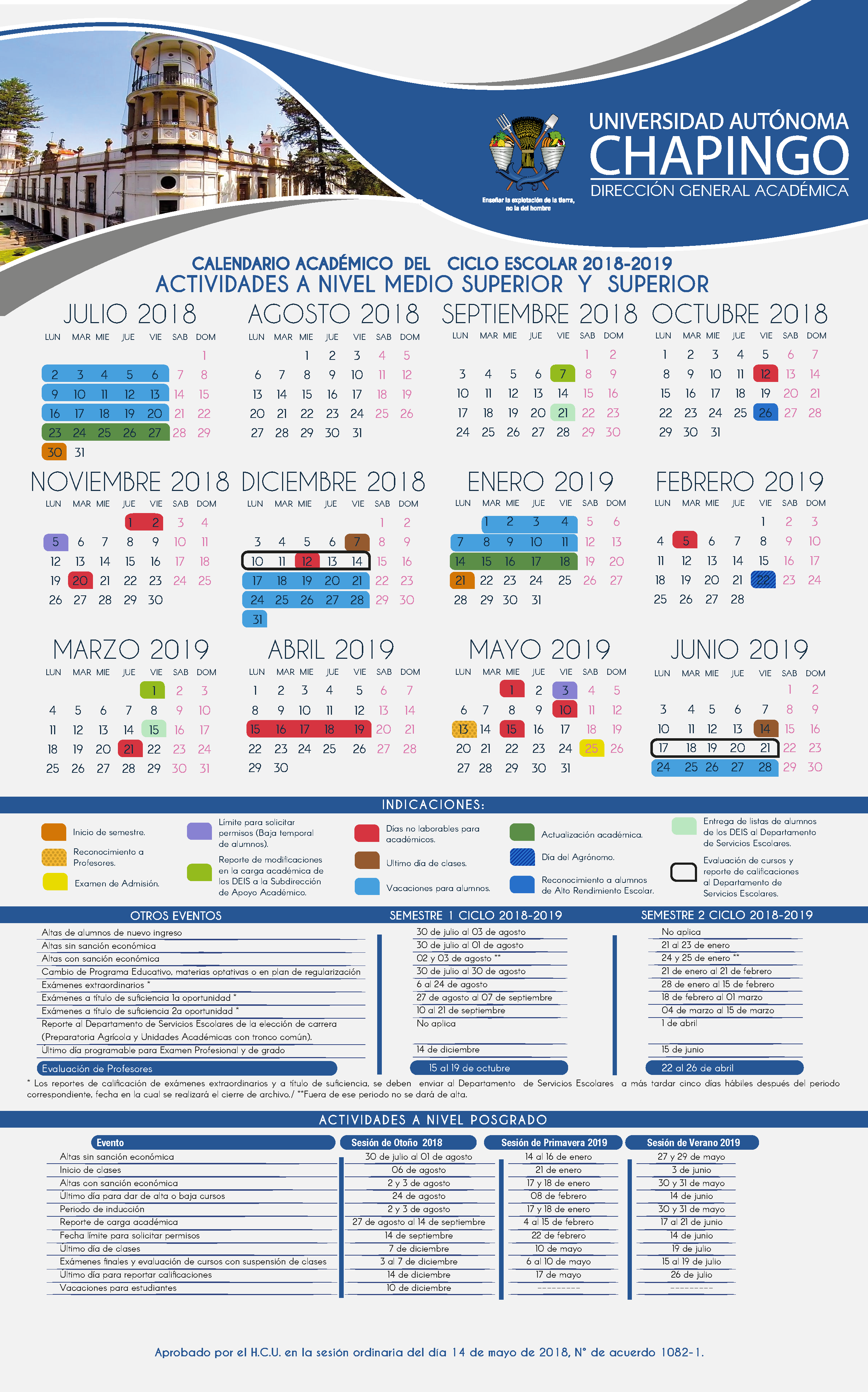 Calendario Laboral Ua.Calendario Escolar 2018 2019 Universidad Autonoma Chapingo